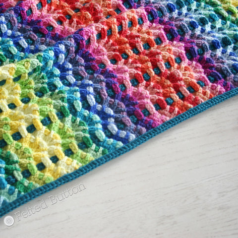 Chromatic Cobbles Blanket | Crochet Pattern | Felted Button