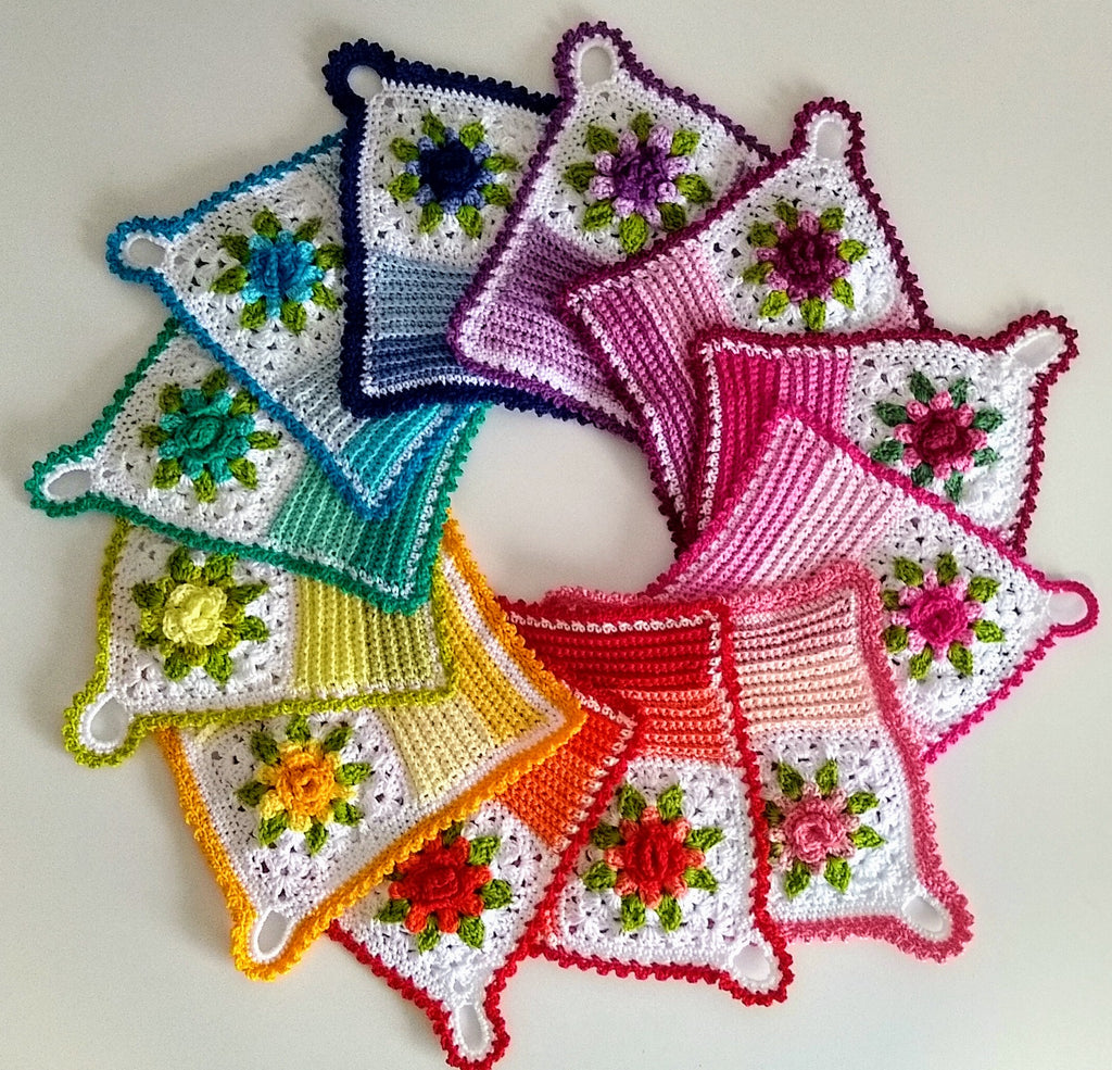 apple blossom dreams crocheted mitered dishcloth pattern in a rainbow of colors