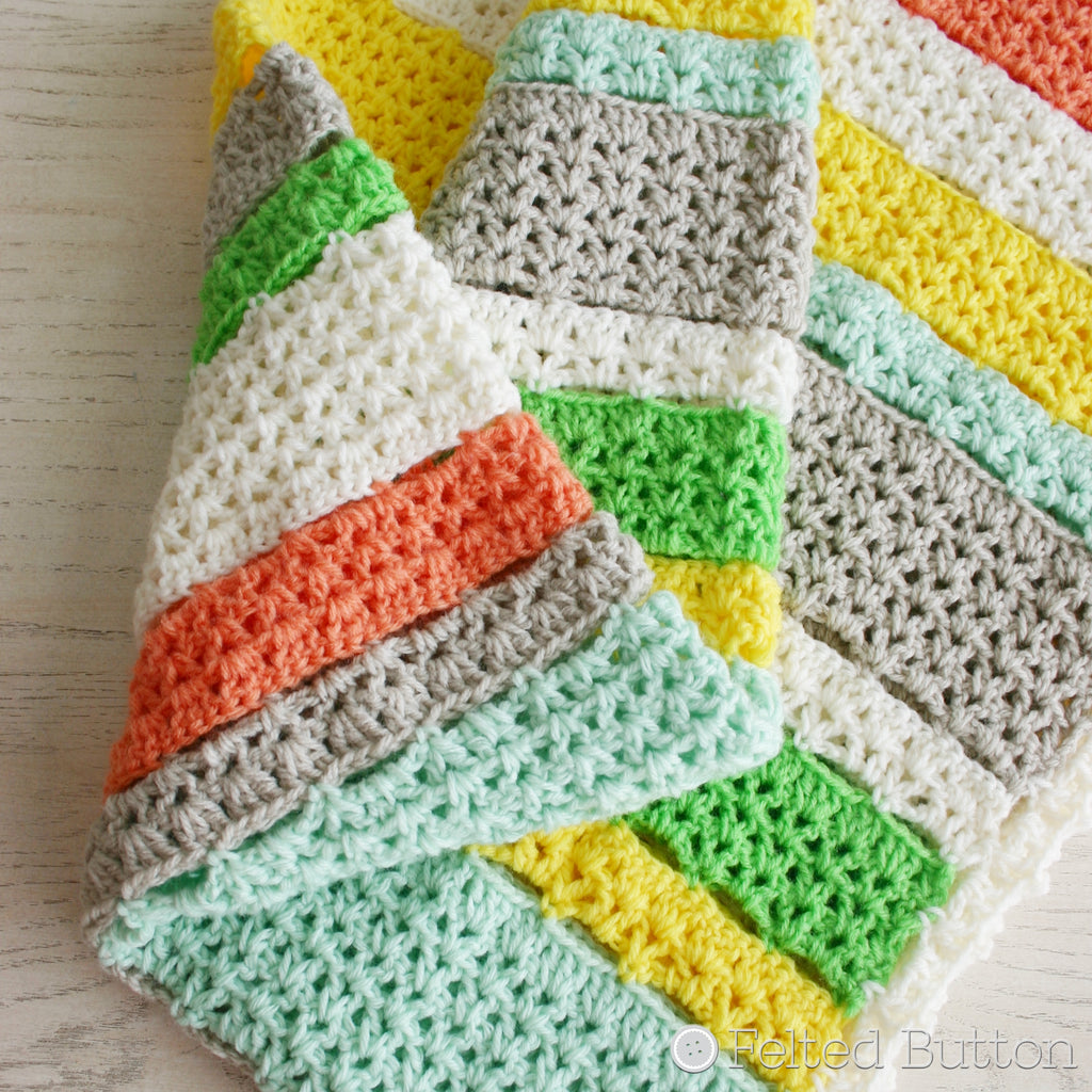Citrus Stripe Blanket by Susan Carlson of Felted Button, yellow, green, orange and white striped crochet afghan