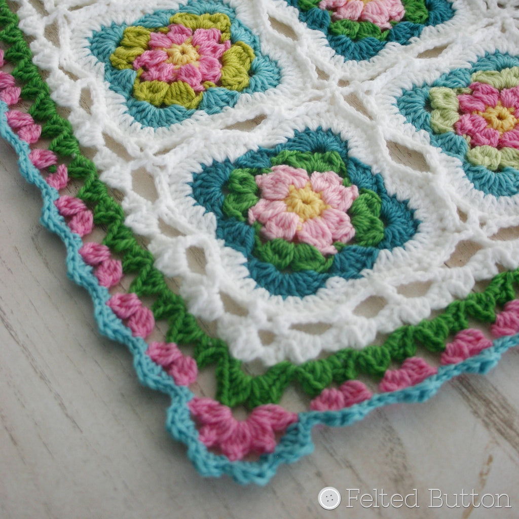 Cottage Garden Blanket | Crochet Pattern | Felted Button