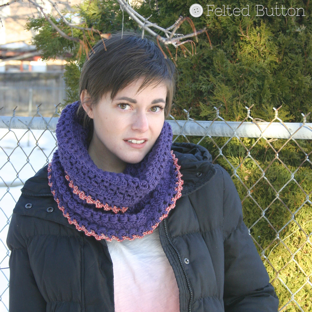 Cwtch Cowl and Hood | Crochet Pattern | Felted Button