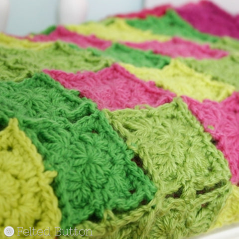 Flying Colors Blanket | Crochet Pattern | Felted Button