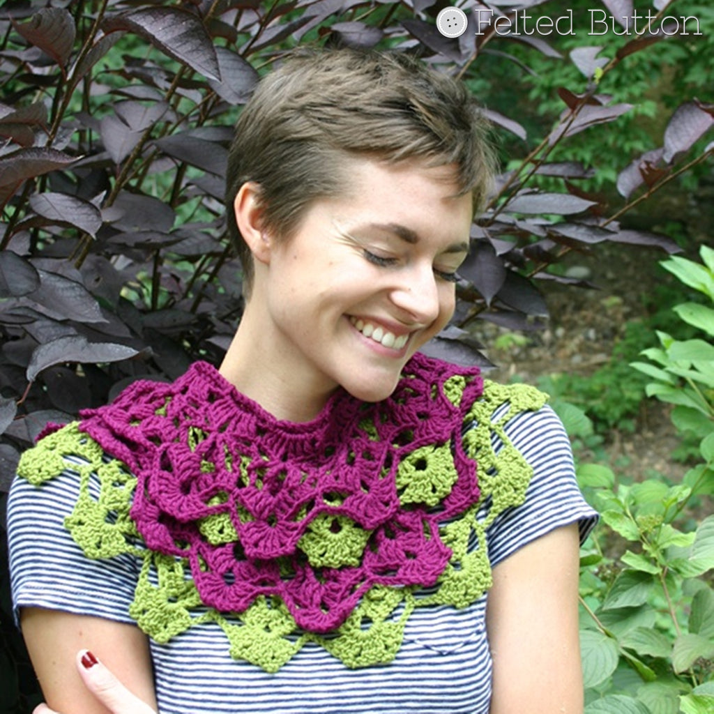 Garden Terrace Infinity Scarf | Crochet Pattern | Felted Button