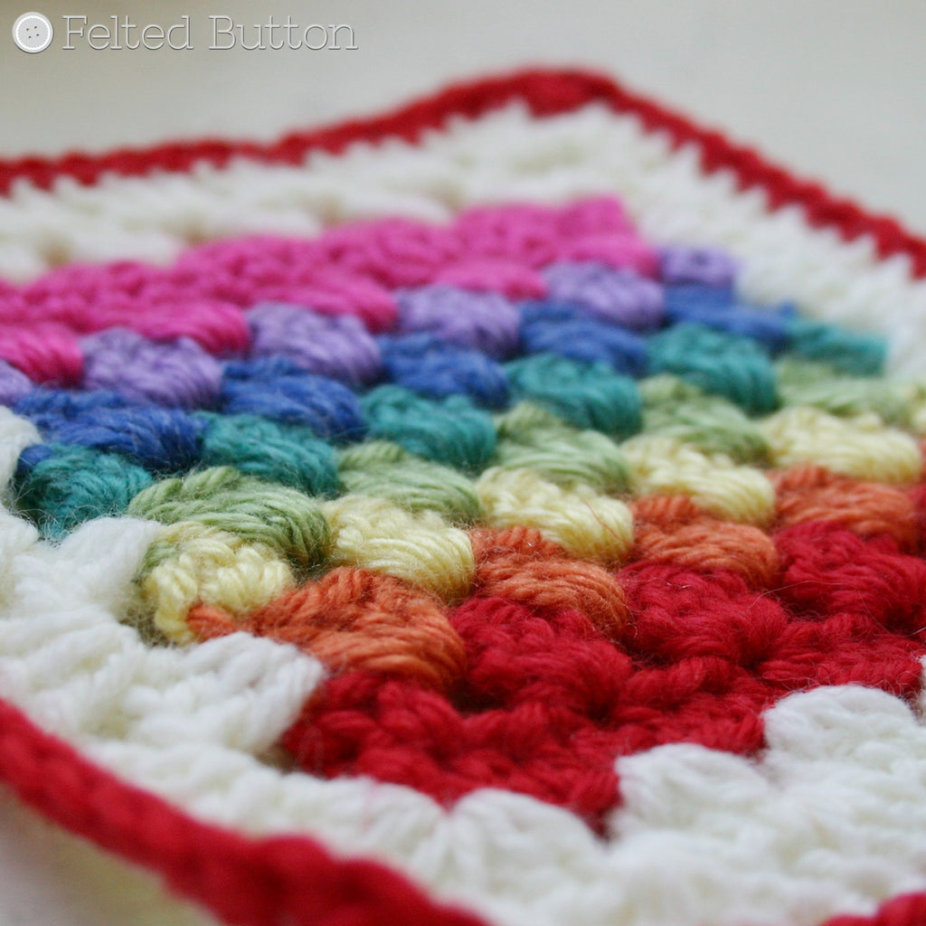 Rainbow striped granny square motif, Granny Stripe Squared motif crochet pattern by Susan Carlson of Felted Button