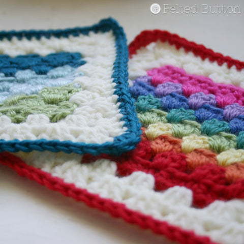 Granny Stripe Squared | Crochet Pattern | Felted Button
