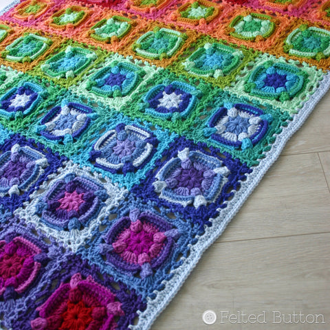 Kaleidoscope Eyes Blanket | Crochet Pattern | Felted Button