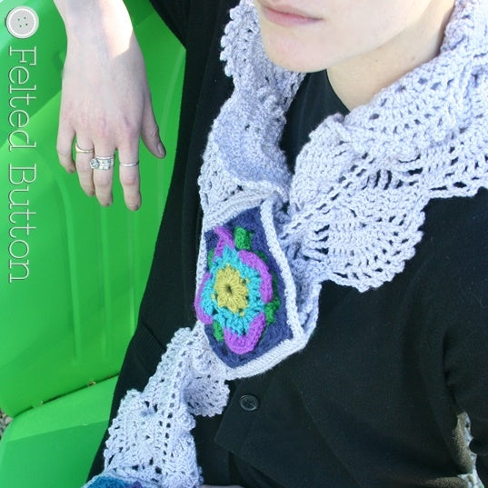 Lacey Rock Cress Scarf | Crochet Pattern | Felted Button