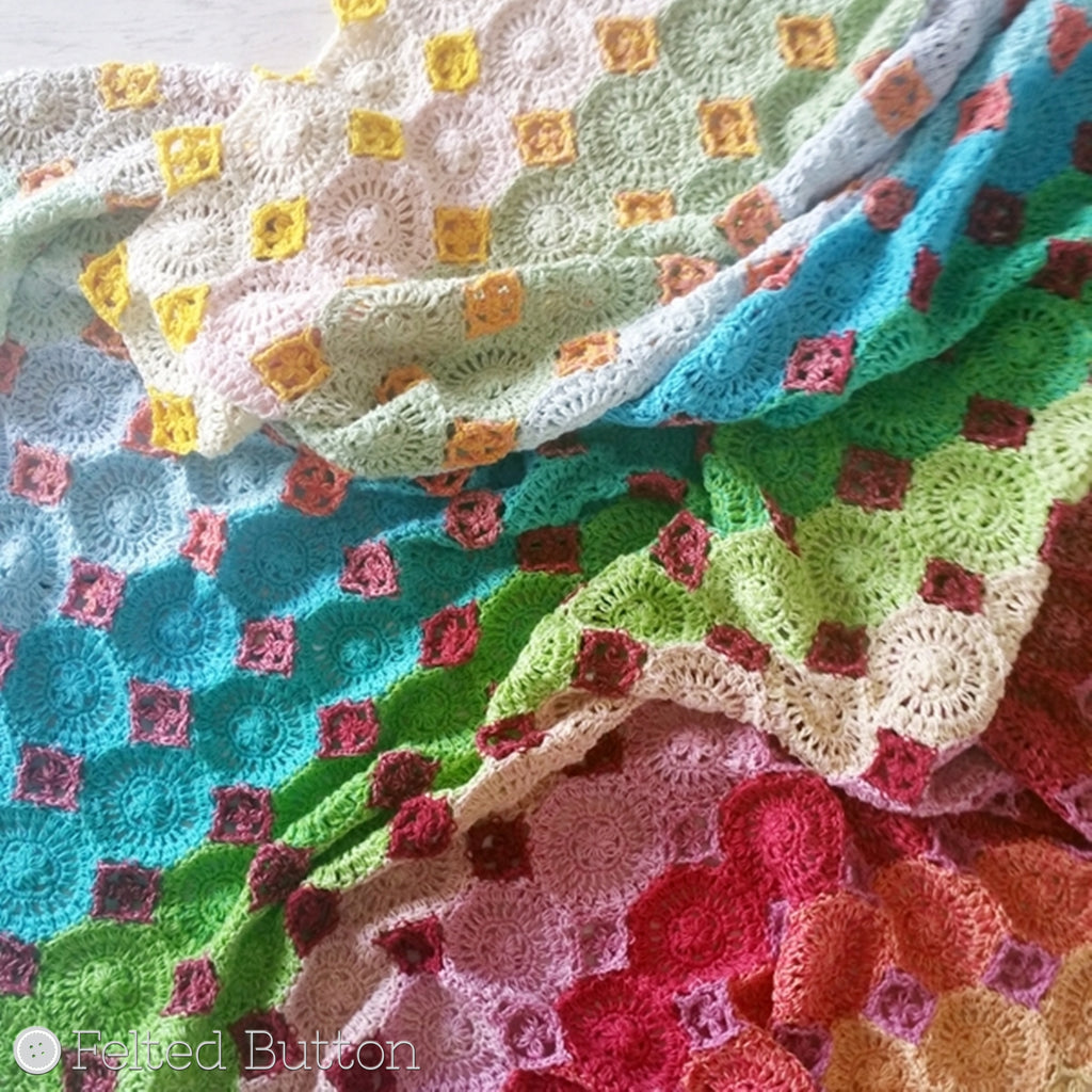 Soft pastel rainbow sherbet-like crochet heirloom blanket, Lightfall Blanket by Susan Carlson of Felted Button, colorful crochet patterns