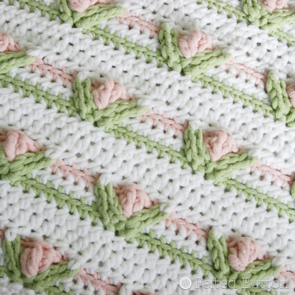 Textured vintage shabby chic rows of pink and green flowers in rows, crochet blanket or pillow pattern, Little Dutch Girl by Susan Carlson of Felted Button