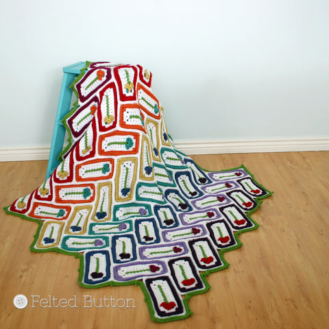 Mariposa Throw | Crochet Pattern | Felted Button