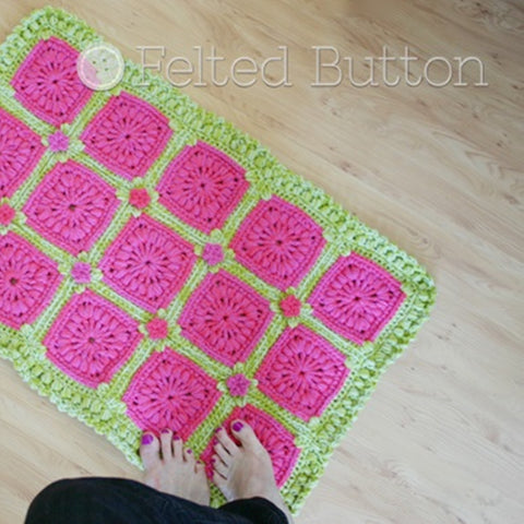 Melon Berry Rug | Crochet Pattern | Felted Button