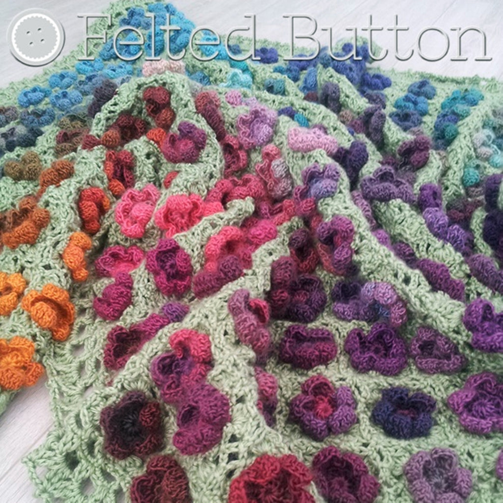 Flower textured crochet blanket in rainbow of colors, Monet's Garden Throw, crochet afghan pattern by Susan Carlson of Felted Button