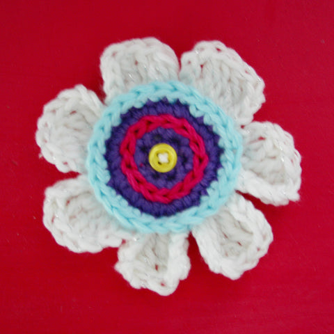 Olivia's Flower Applique | Crochet Pattern | Felted Button