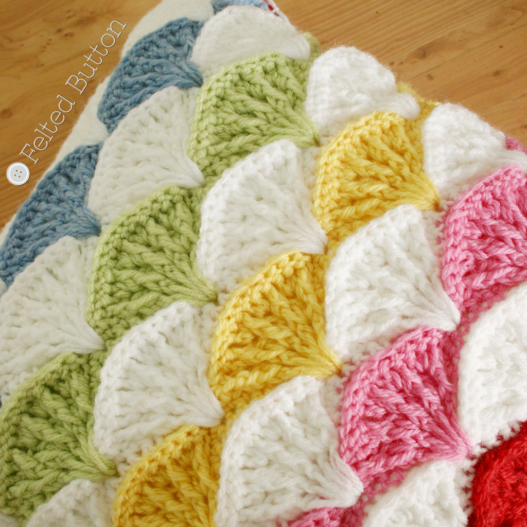 Colorful rainbow crochet textured shell pillow, Paintbrush Pillow crochet pattern by Susan Carlson of Felted Button