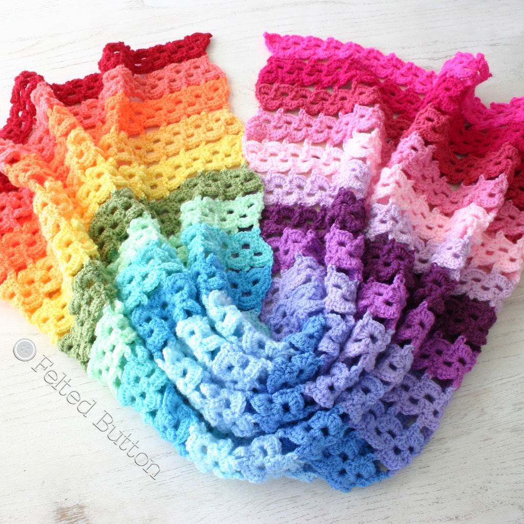 Rainbow crochet blanket in stripes, Pansy Parade Blanket colorful crochet pattern by Susan Carlson of Felted Button