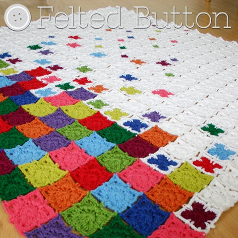 Rainbow Sprinkles Blanket | Crochet Pattern | Felted Button