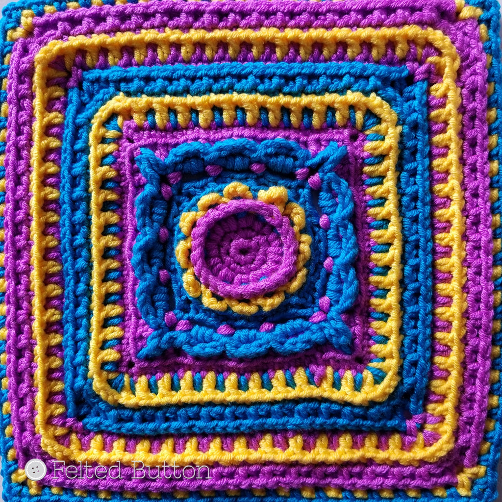 "Rinske Square, textured 12"" (30.5cm) granny square in 3 colors by Susan Carlson of Felted Button 