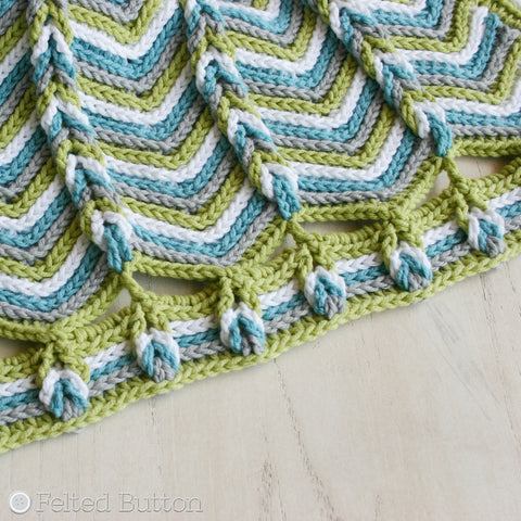 Rolling Ridge Baby Blanket | Crochet Pattern | Felted Button