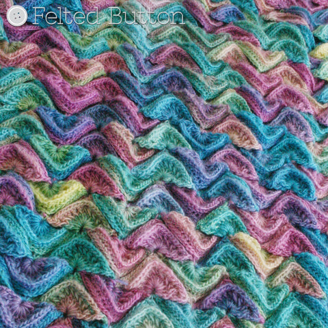 Sea Song Blanket | Crochet Pattern | Felted Button