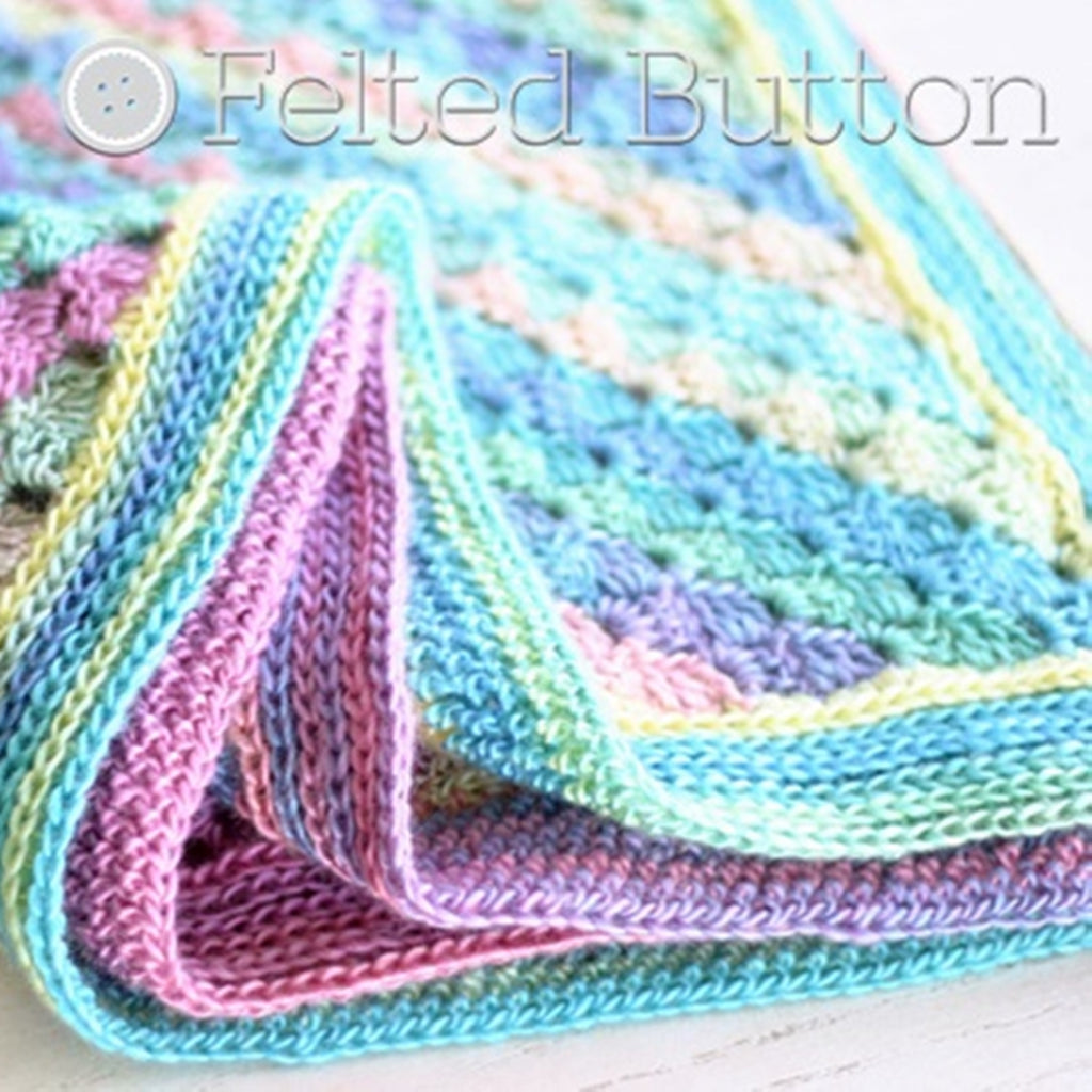 Pastel rainbow corner to corner diagonal striped blanket, Spring into Summer Blanket crochet baby blanket by Susan Carlson of Felted Button