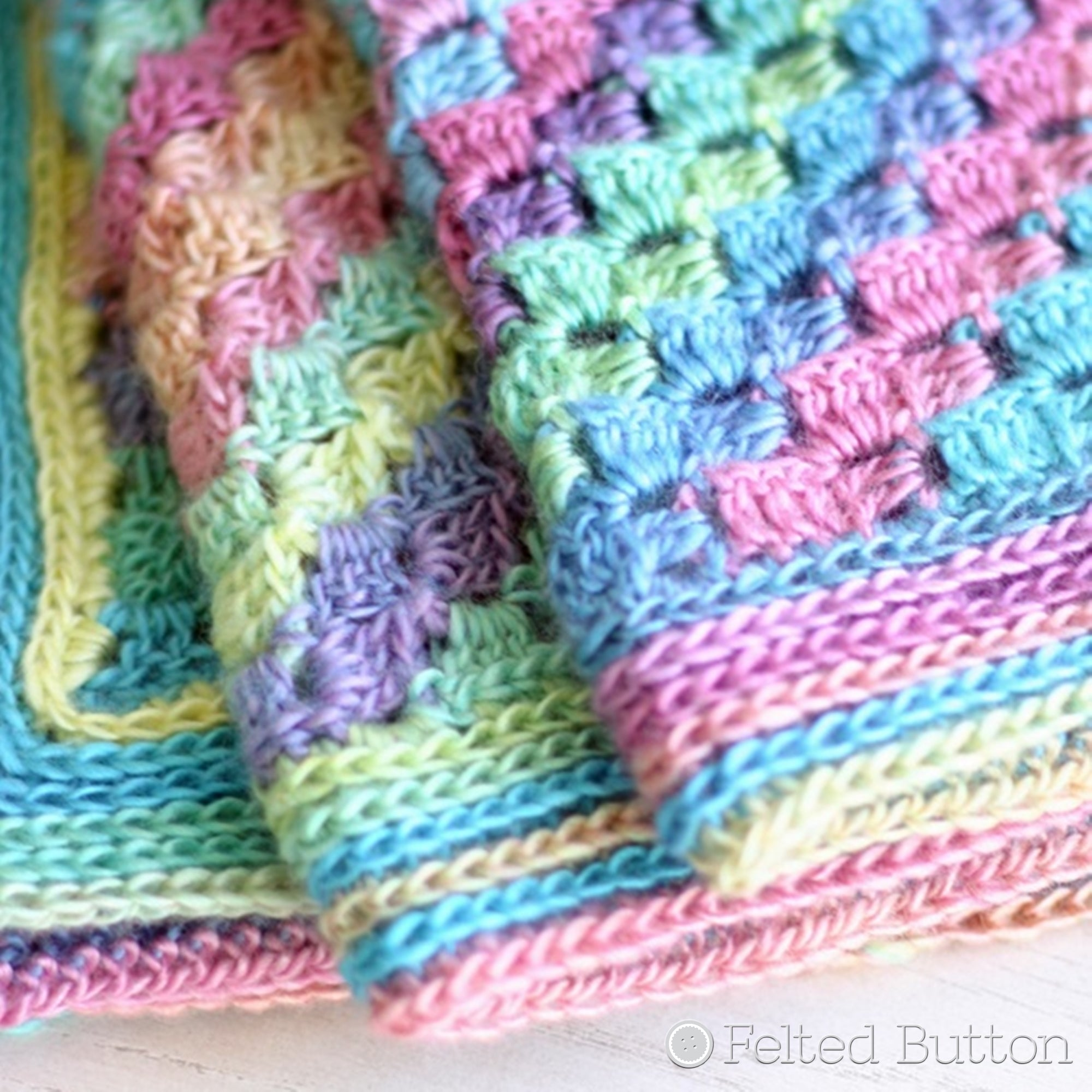 Spring into Summer Blanket | Crochet Pattern | Felted Button