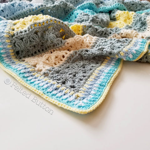 Under the Awning Blanket | Crochet Pattern | Felted Button