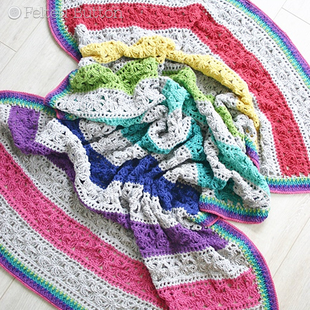 Cabana striped beachy crochet blanket with wide stripes in a rainbow of color, Under the Awning Blanket crochet afghan or throw pattern by Susan Carlson of Felted Button