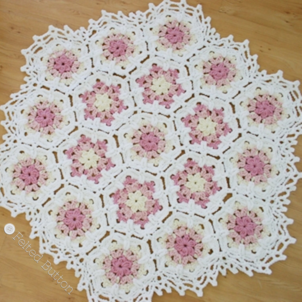 Vintage Fleur Blanket | Crochet Pattern | Felted Button