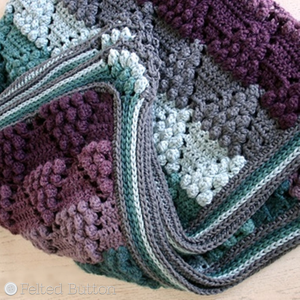 "Purples and teals striped and textured blanket with ""grapes"", Vintage Vineyard Blanket crochet afghan by Susan Carlson of Felted Button"