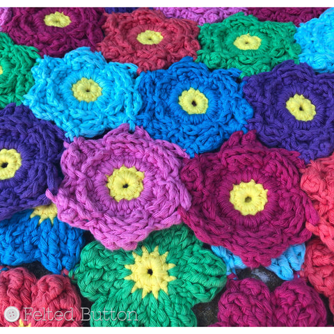 Waikiki Wildflower Blanket | Crochet Pattern | Felted Button