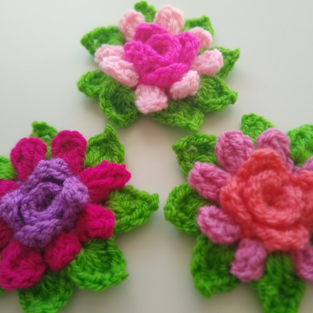 apple blossom dreams blossom in the round in-the-round crochet flowers colorful