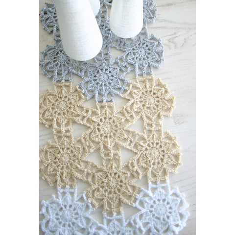 Fallen Snow Table Runner | Crochet Pattern | Felted Button