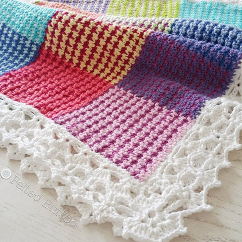 Washburn Blanket | Crochet Pattern | Felted Button