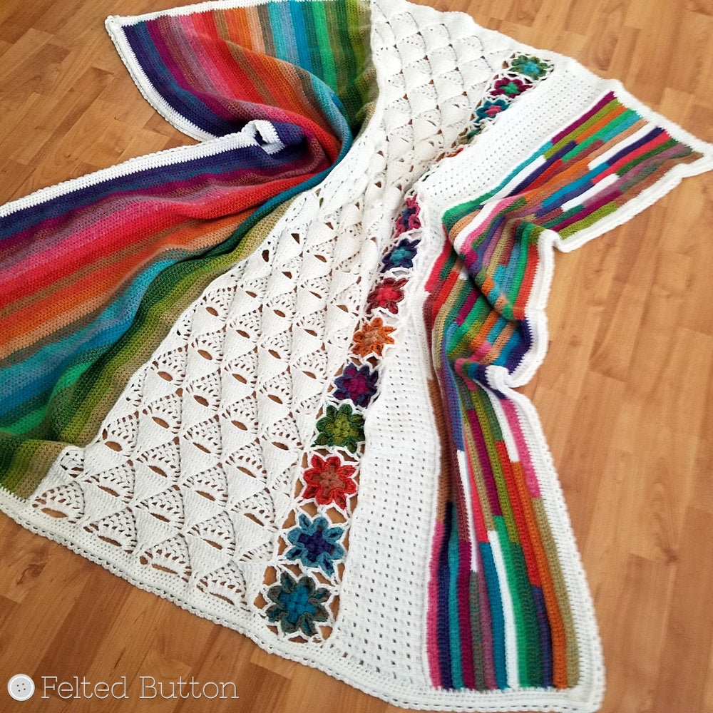 5th Dimension Blanket | Crochet Pattern | Felted Button