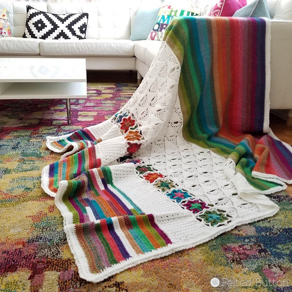 colorful crochet rainbow blanket, 5th Dimension Blanket by Susan Carlson of Felted Button