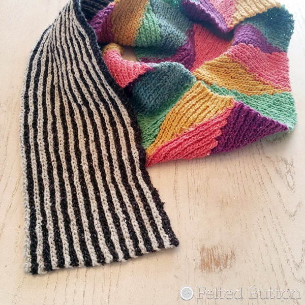 Black and white striped scarf with rainbow color block section, Long and Short Scarf free crochet pattern by Susan Carlson of Felted Button