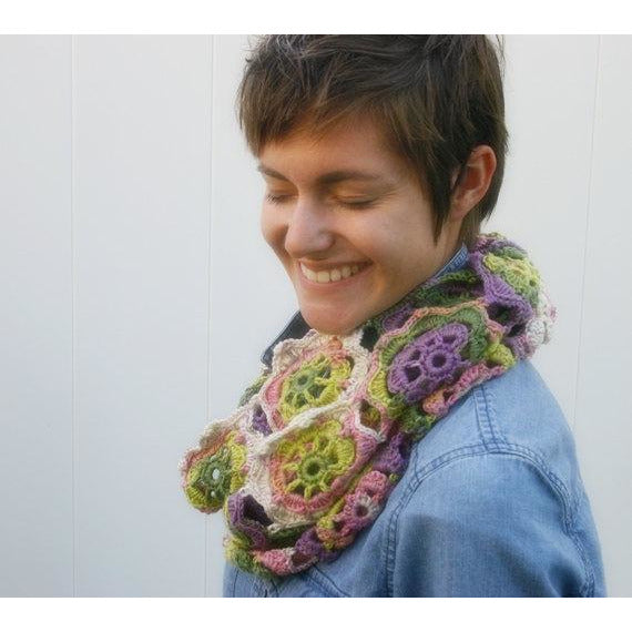 Pink, green and purple lacey crochet motif cowl or scarf, Infinity Blossom Cowl by Susan Carlson of Felted Button, colorful