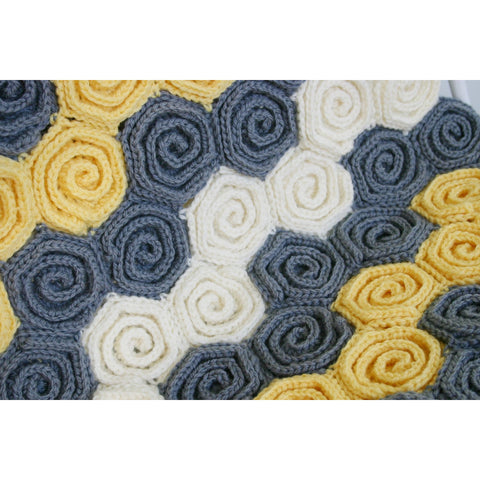 Let's Twirl Blanket & Rug | Crochet Pattern | Felted Button