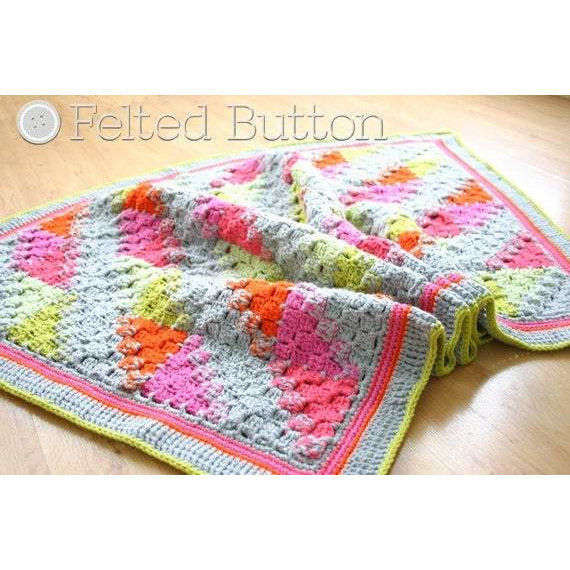Puzzle Patch Blanket | Crochet Pattern | Felted Button