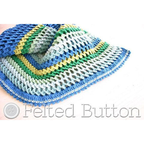 Irish Sea Blanket | Crochet Pattern | Felted Button
