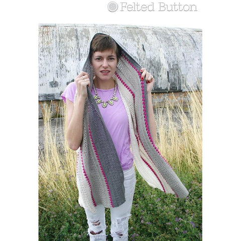 Treasures in the Sand Wrap | Crochet Pattern | Felted Button