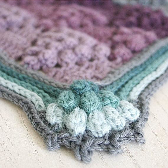 "Purples and teals striped and textured blanket with ""grapes"", Vintage Vineyard Blanket crochet afghan by Susan Carlson of Felted Button, corner detail close-up"