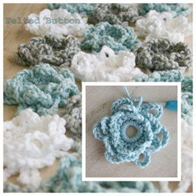 Loopsy Daisy Cover and Shawl free crochet pattern by Susan Carlson of Felted Button, loopy blue white and grey flowers to cover bed or worn