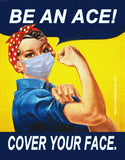 Be an Ace! Cover Your Face! Rosie the Riveter Poster-Style Sticker OR Magnet