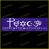 Bumper Sticker or Bumper Magnet says, Believe in Peace. The word Peace is is formed from religious symbols. Additional row of 20 small religious symbols appears below text.