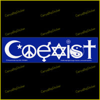 Bumper sticker or magnetic bumper sticker says, Coexist. Features lettering comprised of religious symbols like cross and Star of David and Islamic Crescent.