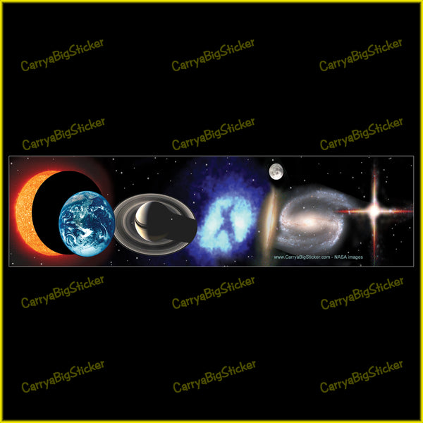 Bumper Sticker or Bumper Magnet says, Coexist. Letters are formed from cosmic images like stars, planets, moons, etc.