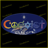 Oval window sticker sticker says Coexist. Letters are formed from religious symbols, appear in rainbow colors above the planet Earth.