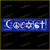 Bumper Sticker or Bumper Magnet says, Coexist. Lettering is comprised of religious symbols. Smaller lettering around this spells Coexist in different languages.