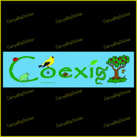 Bumper Sticker or Bumper Magnet says Coexist. Features an environmental theme that includes a tree, bird, ladybug, frog and other creatures.